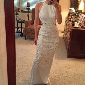 Cache sequin open back gown maxi dress white 2
